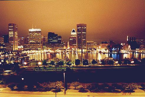 Baltimore Harbor at Night From Federal Hill - By Greg Marsh